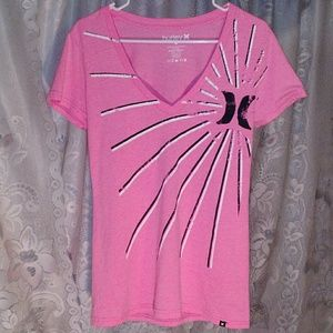 Hurley - Bright Neon Pink Graphic V-Neck T-Shirt
